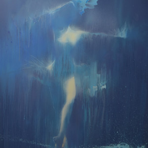 extra large painting of a woman dancing in rain by Yuri Pysar, ballet collection