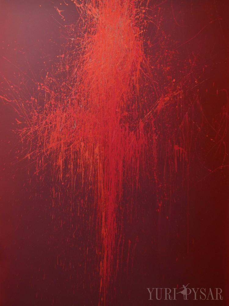 oversize painting of abstract ballerina, acrylic on canvas