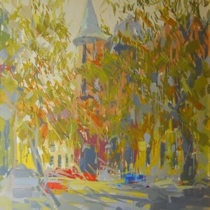 autumn landscape painting of a city