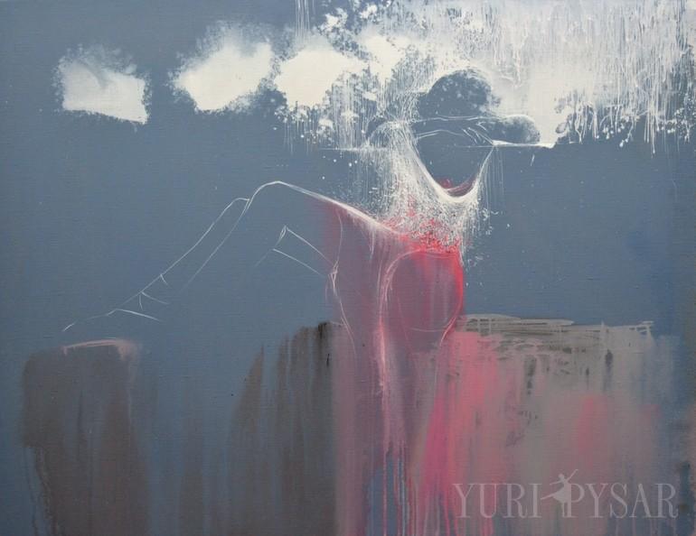 grey figurative painting ballet dancer