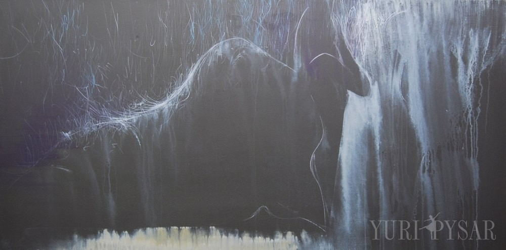 black and white figurative painting