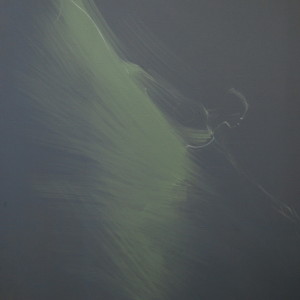 dark green abstract painting of ballerina
