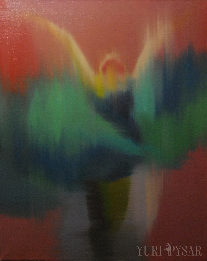 abstract dancer painting in red pink, green on canvas
