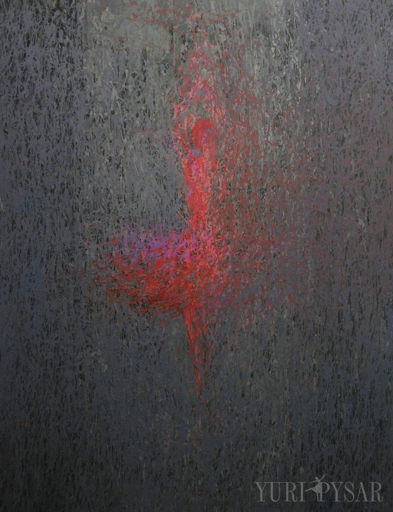grey and red abstract art