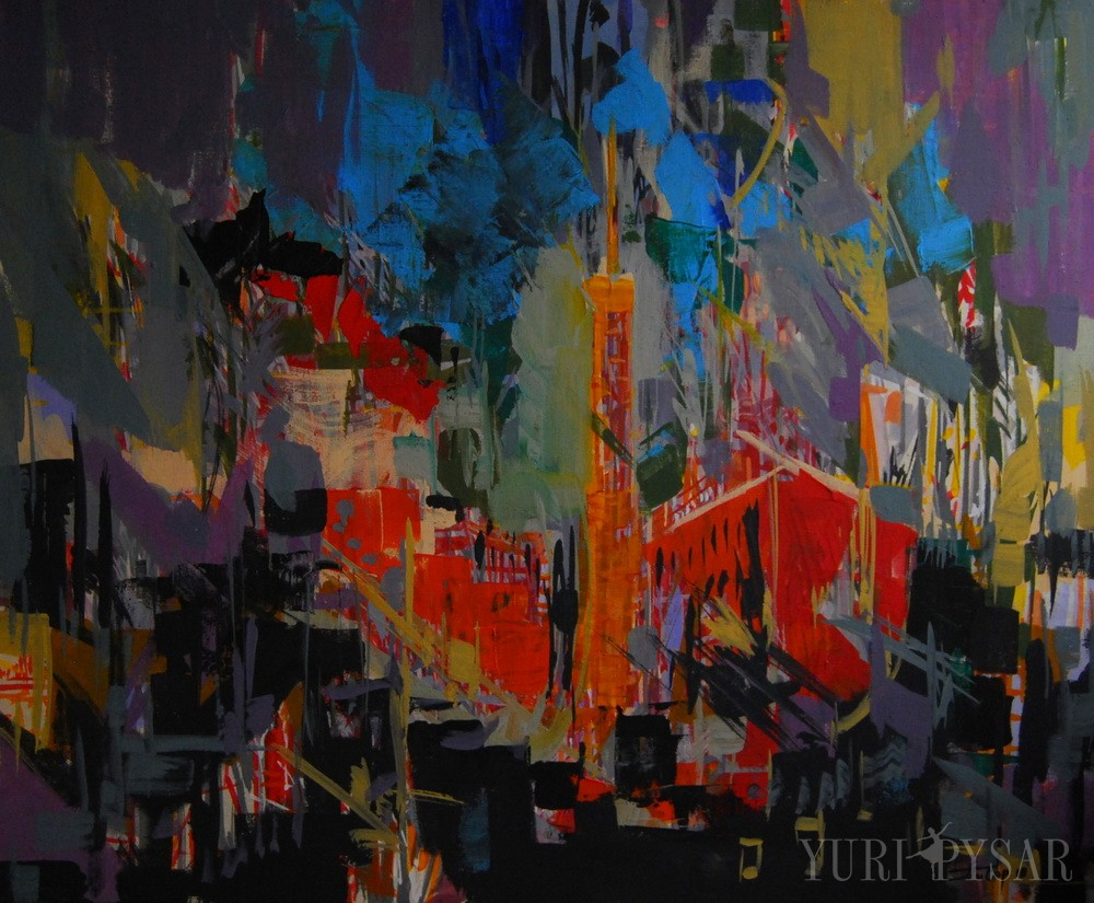 evening painting on canvas in contemporary style