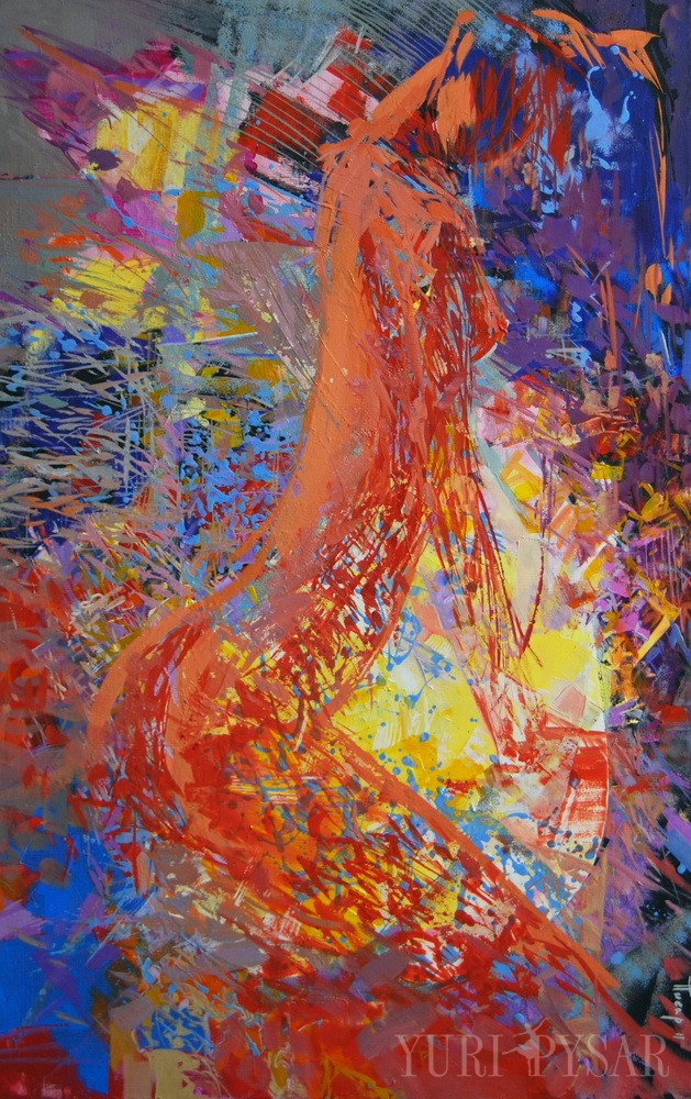 large abstract painting of a full female body