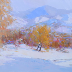 impressionist painting of mountains, winter nature