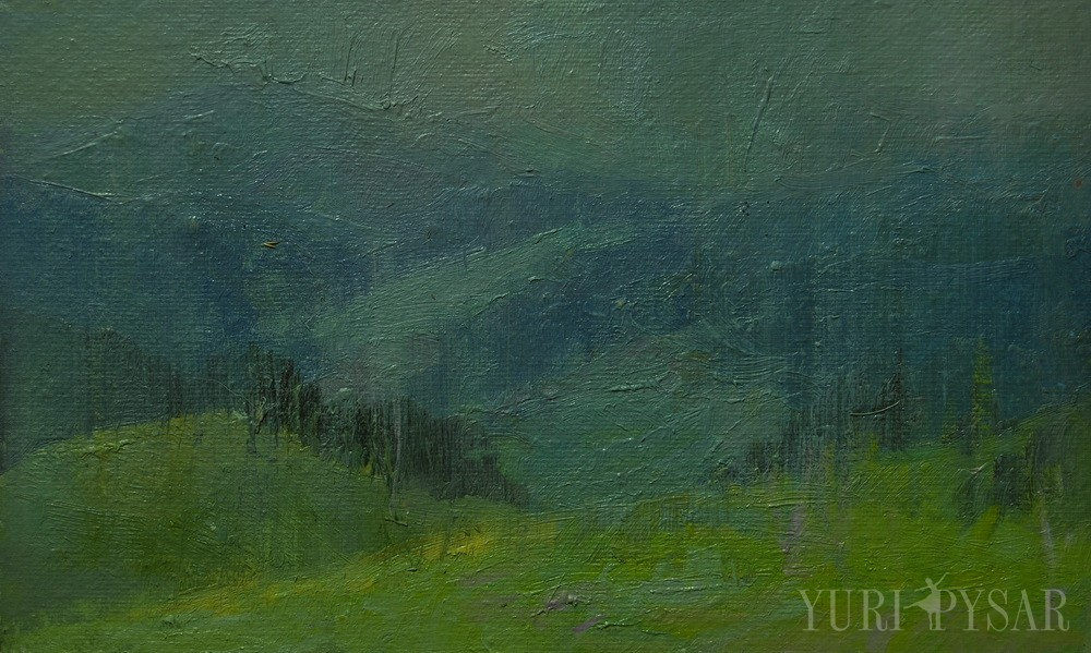 nature painting of rain in green