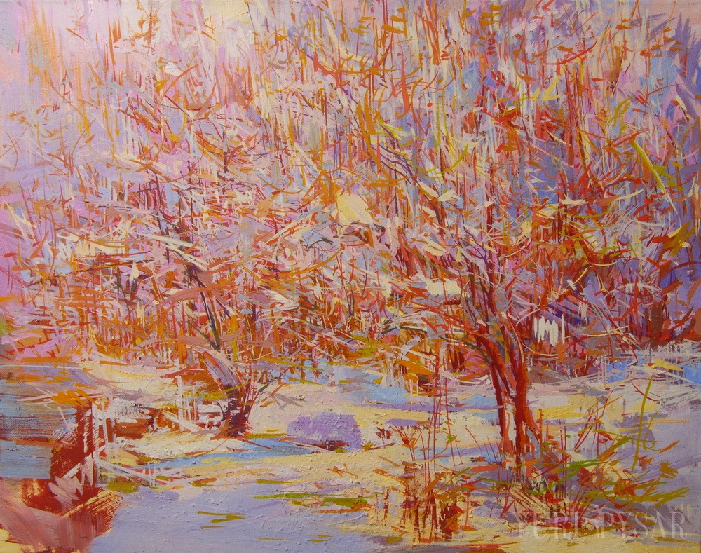 painting of a winter scenery in oil