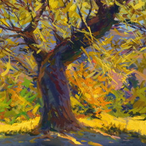 brown and yellow fall artwork of a tree on canvas