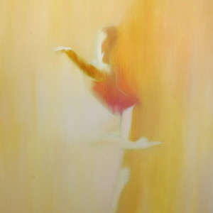 contemporary painting of ballerina on canvas