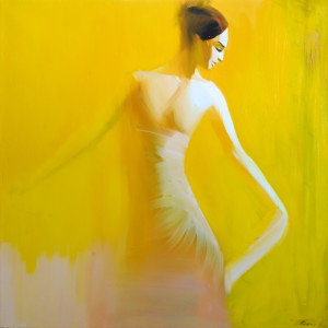 yellow ballerina painting in oil