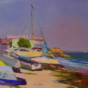 painting of beach with boats in seascape painting