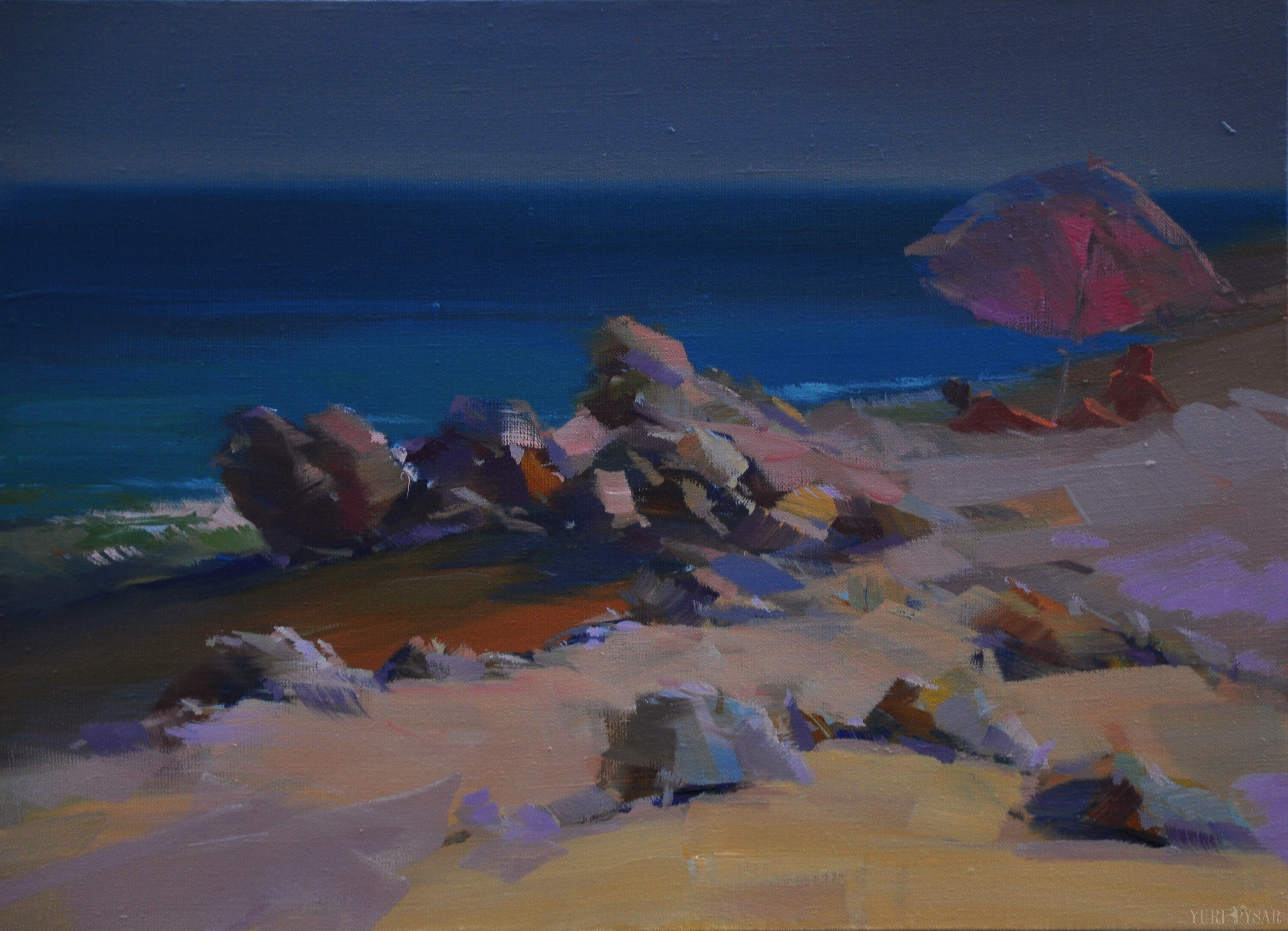 painting of seascape with rocky beach