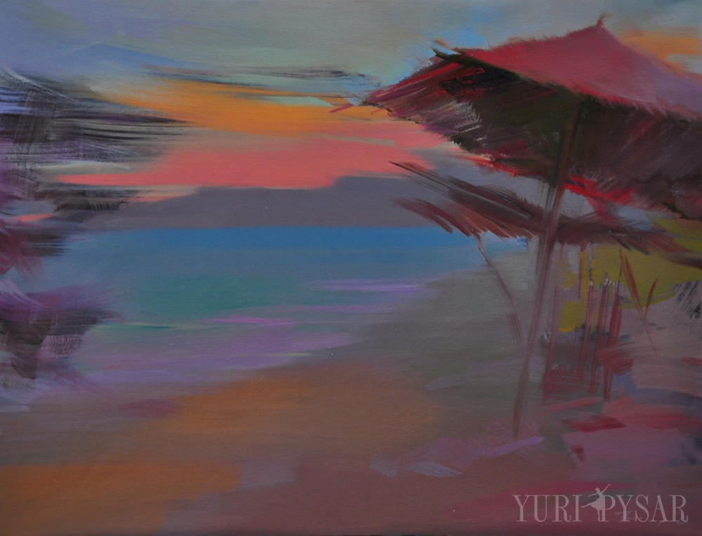 seascape painting of a sunset scene on beach