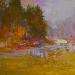 oil painting of river and forest in fall time