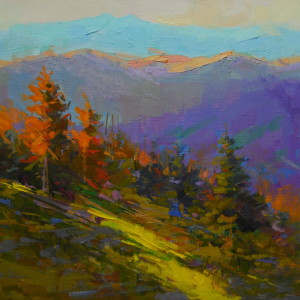 bright landscape art of mountanious scenery