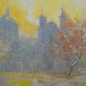 oil painting in grey and yellow colors
