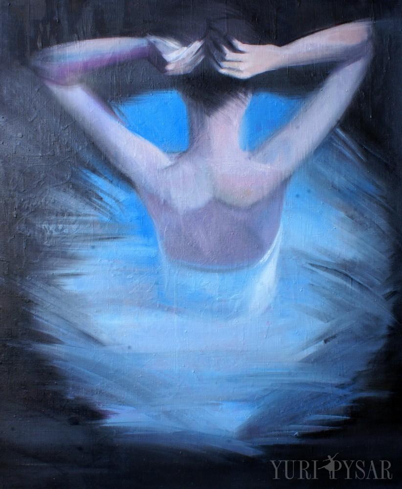 blue and black dancer art