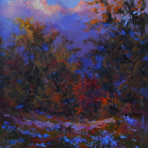oil landscape painting of a evening forest