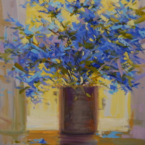 blue floral art on canvas
