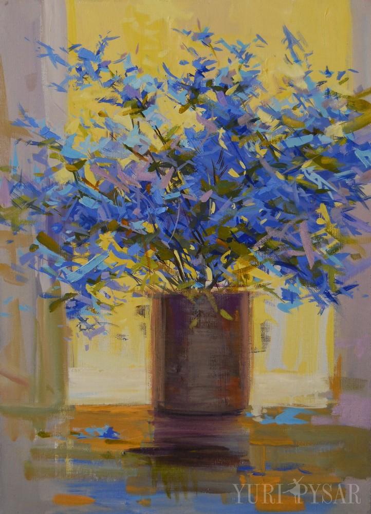 blue floral art on canvas