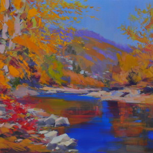 artwork of a golden fall with the mountanious river water