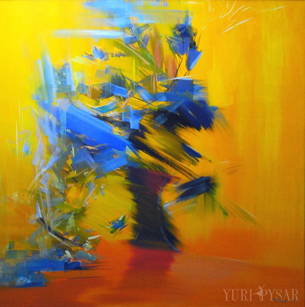 large painting of flowers in yellow, blue