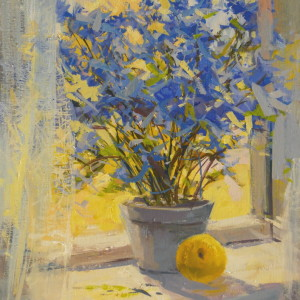 oil painting of blue, yellow still life on canvas