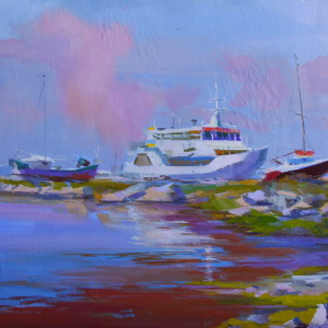 marine painting of boat in oil on canvas