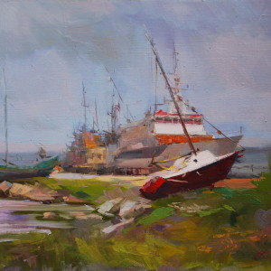 painting of boat in oil