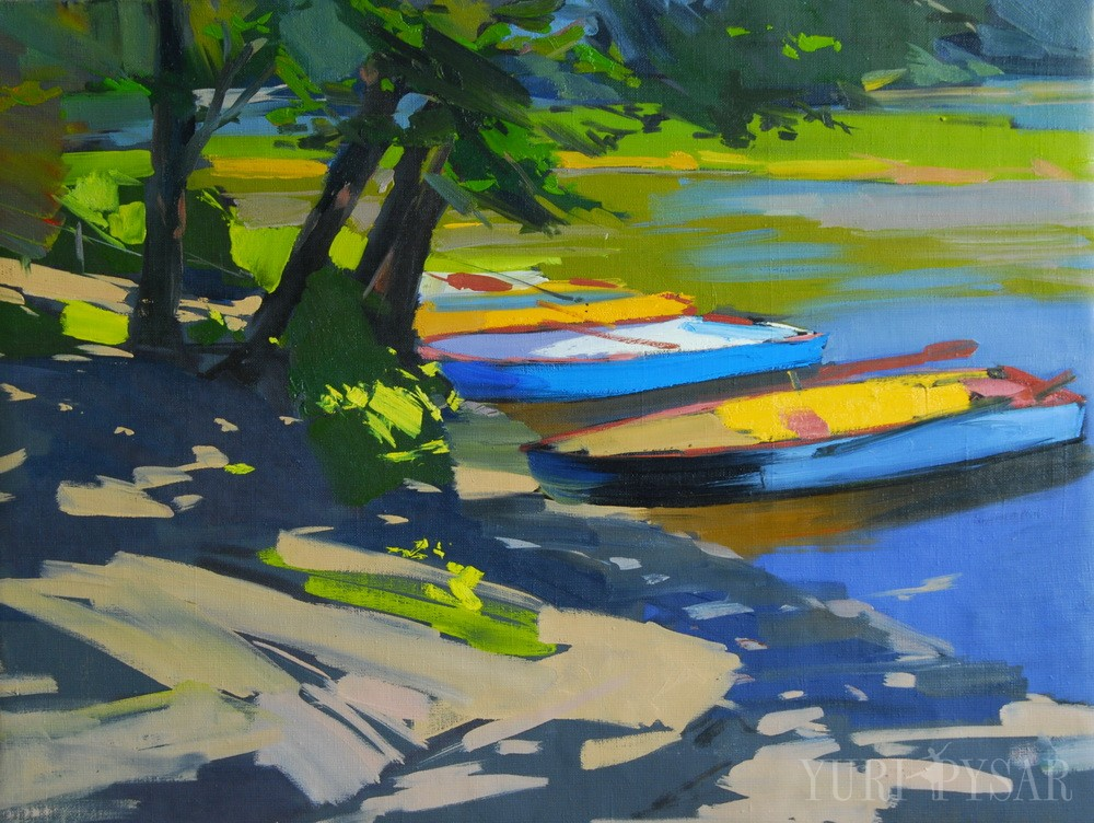 nature painting of boats on water