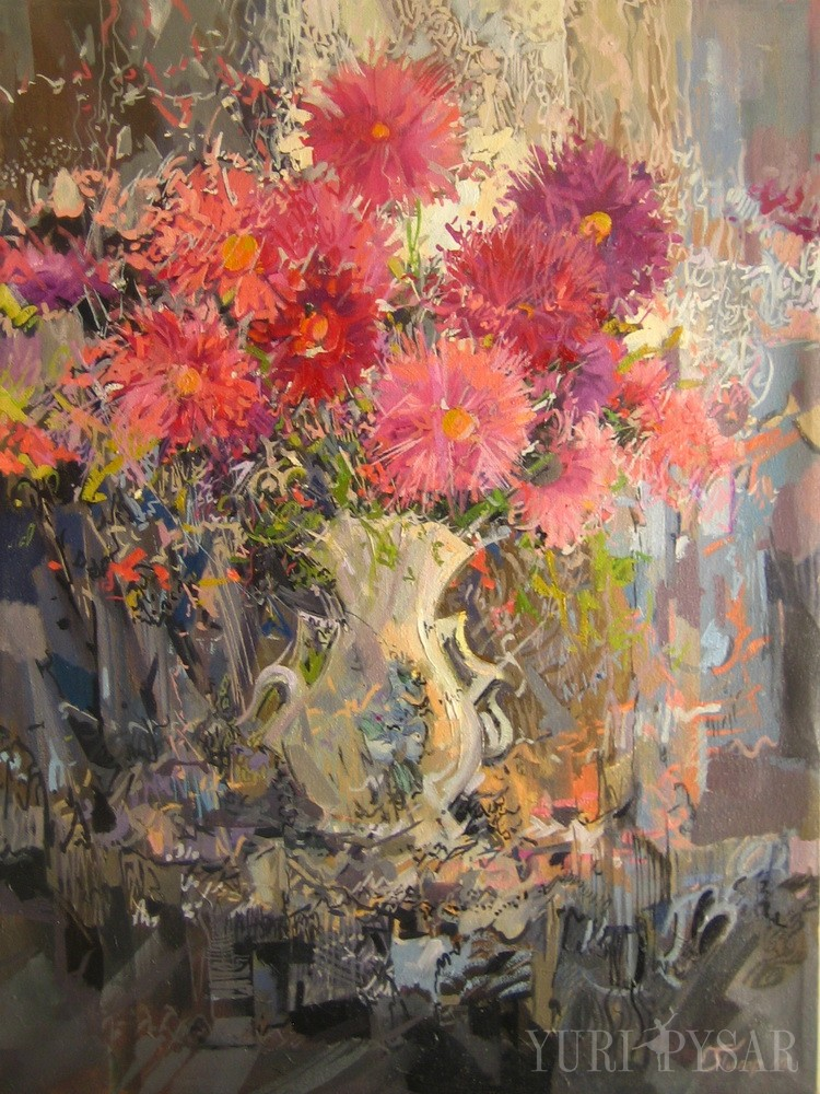 oil contemporary art of flowers