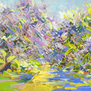bright modern art painting of spring