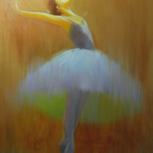 brown ballerina painting in oil