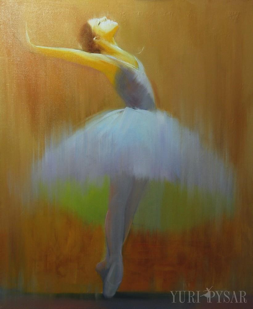 brown ballerina painting in oil