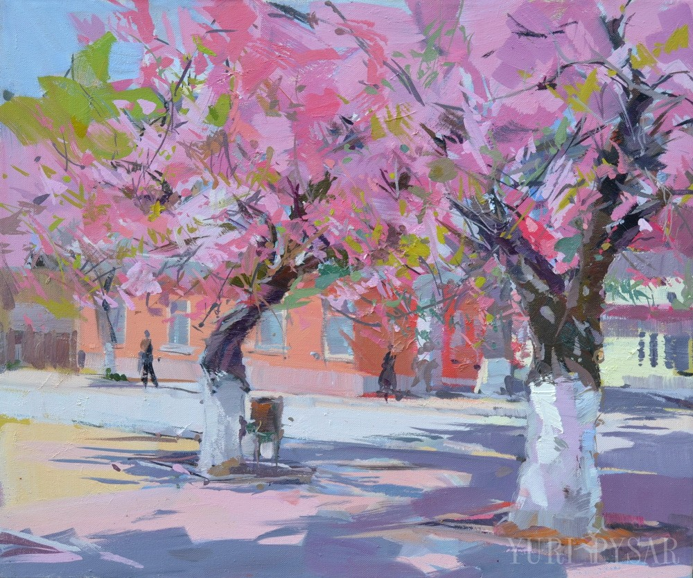 oil tree painting in blossoming spring
