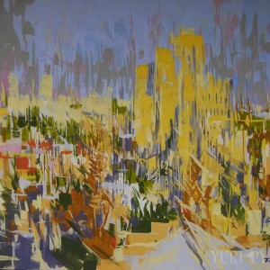 abstract city painting on canvas
