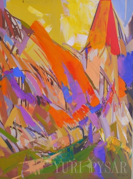 bold painting of a church in abstract style