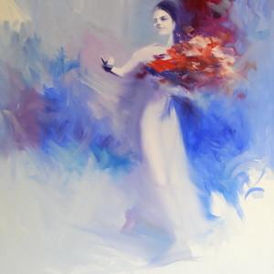 blue woman painting of ballerina