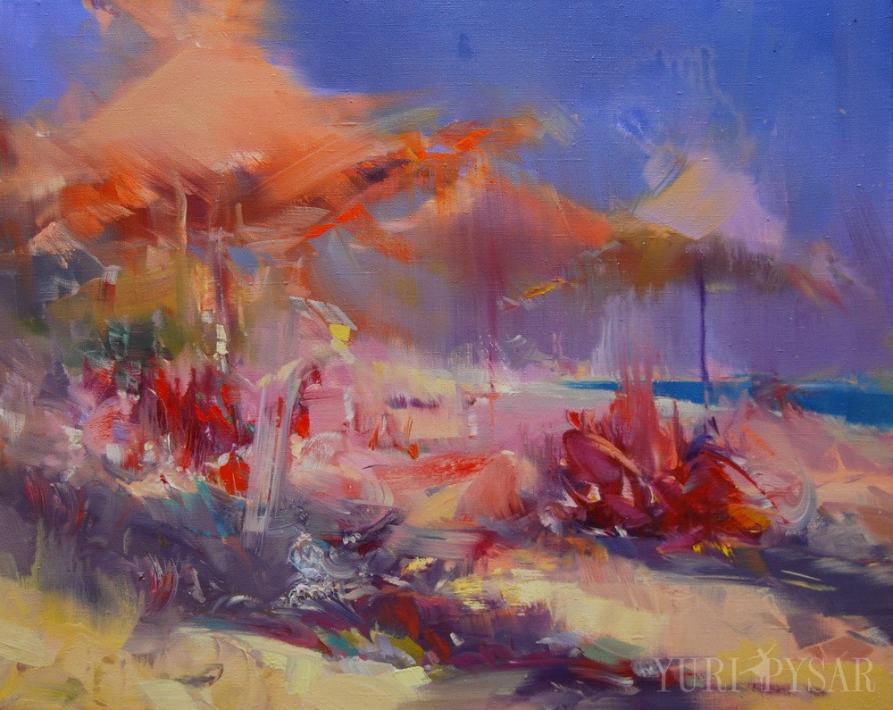 seascape painting of a beach in oil