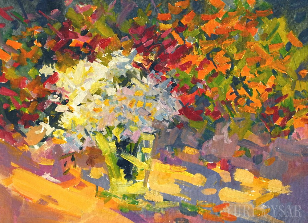 oil painting of colorful garden florals