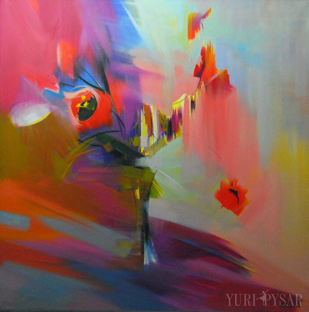 spring tulips painting in canvas