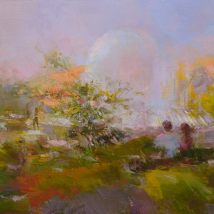 summer landscape art in abstract manner