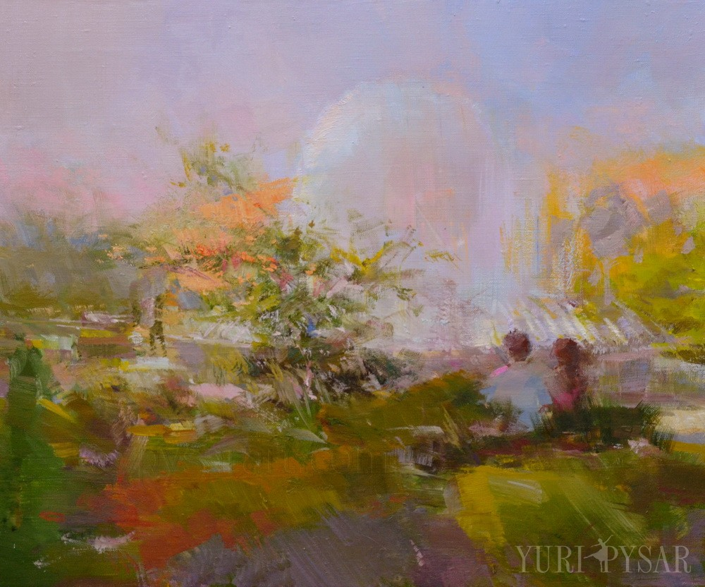 summer landscape art in abstract manner