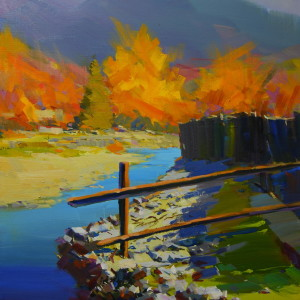 blue yellow landscape painting