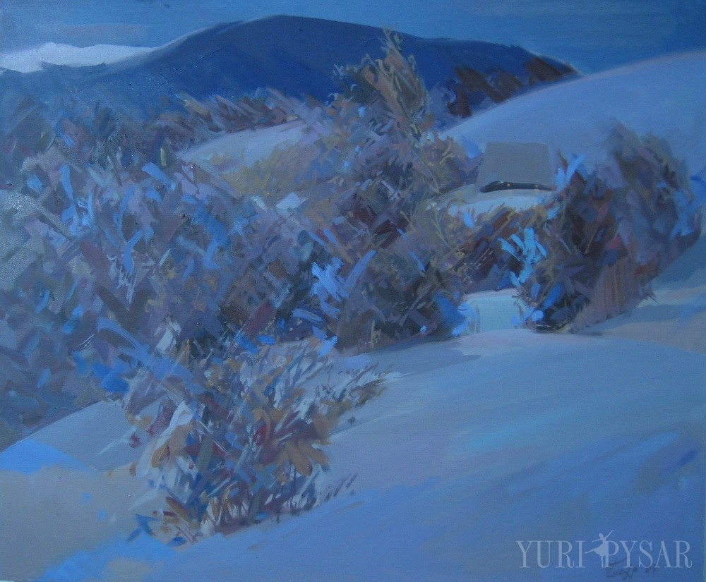 dark blue painted with oil canvas of beautiful mountanious evening