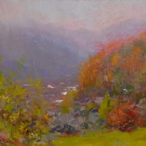 пейзаж картини, осінь в горах, осінні Карпати