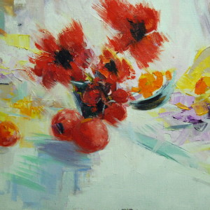 red painting of florals in oil