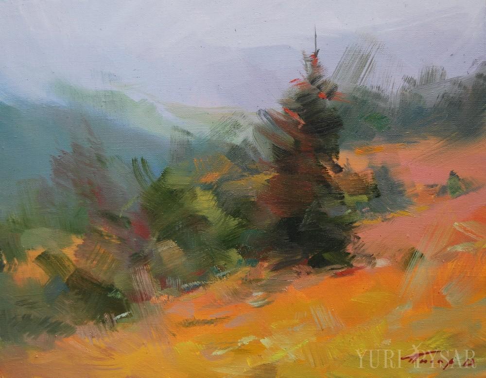 mountains painting of carpathians in ukraine